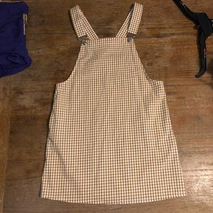 light brown and white overall dress
